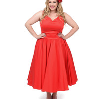 Plus Size 1950s Style Red Cotton Sateen Scallop Brenda Swing Dress
