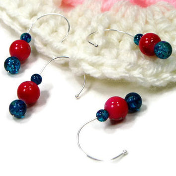 Removable Stitch Markers Set, Snag Free, Beaded, Dark Pink, Dark Blue, Crochet, Knitting, TJBdesigns