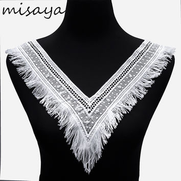 Misaya 1pc Milk Silk V Collar Tassel Imitation Pearl Beaded Lace Fabric Wedding Dress Collar Lace For Sewing Supplies Crafts