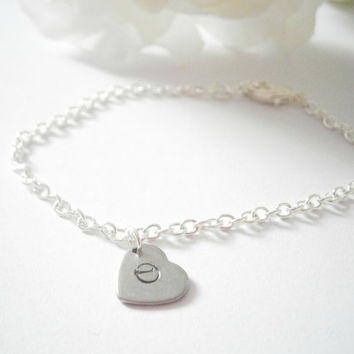 Initial Heart Bracelet- Monogram Bracelets - Silver Plated Chain - Personalized Jewelry - Bridesmaid Gift - Custom Jewellery - Hand Stamped
