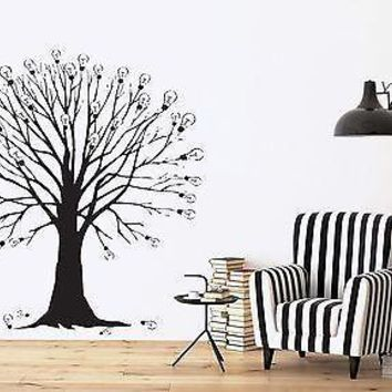 Wall Vinyl Sticker Decal Tree Branches Idea Light Bulb Abstract Decor Unique Gift (n333)