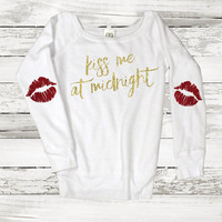 Kiss Me at Midnight Lips Elbow Patch Sweatshirt Jumpershirt