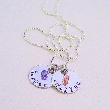Kids Names Necklace Personalized with Two Discs and Two Birthstones - Family Jewelry - Childrens Names - Custom Gift
