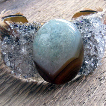 Brass Agate Cuff Bracelet Crystals Feathers Bohemian Jewelry boho bracelet feather bracelet