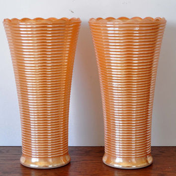 Vintage Peach Luster Ribbed Vase, Set of Two, Anchor Hocking, Milk Glass Vase, Scalloped Edge, Manhattan