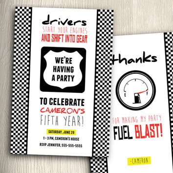 AWESOME Race Car Birthday Party Invitation with Thank You Cards DIY Printable