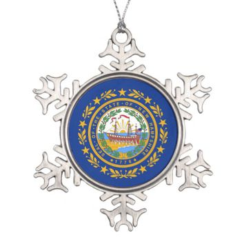Snowflake Ornament with New Hampshire Flag