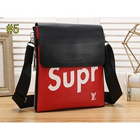 LV X Supreme Fashion Full Print Color Matching Shopping Bag Single Shoulder Bag #6 Red