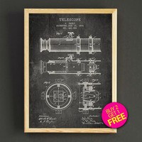 Telescope Patent Print Astronomy Telescope Blueprint Poster House Wear Wall Art Decor Gift Linen Print - Buy 2 Get FREE - 304s2g
