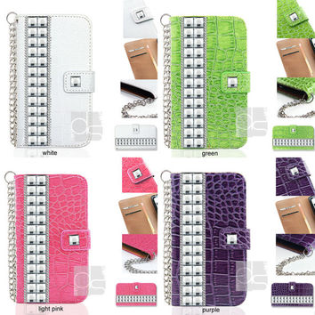 iPhone 4 Studs Case for iPhone 4S Wallet Case iPhone 5 Leather Case Bling iPhone 5S Case iPhone 5C Case iPhone 5C Studded Case Crocodile EYS