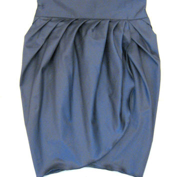 High-Waist Blue Skirt, Women Skirt, Cotton Skirt, Designers Skirt, Summer Skirt, Balloon Skirt, Pemcil