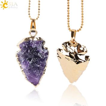 CSJA Natural Purple Rock Crystal Quartz Arrowhead Necklaces & Pendants Reiki Gem Stone Electroplated Gold Color Men Jewelry E633