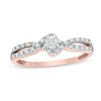 1/4 CT. T.W. Diamond Twist Shank Promise Ring in 10K Rose Gold