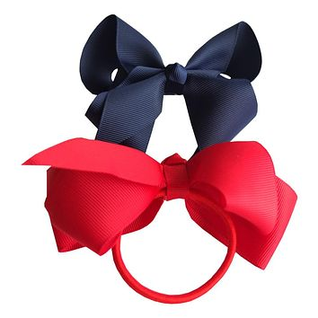 6 pcs 4 inch Hair bow WITH Elastic Band Ponytail Hair Holder Kids Girl head accessories Elastic Loop Bobble School Dancing bows