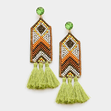 "4.25"" green crystal seed bead tassel fringe boho earrings"