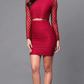 Long Sleeve Short Lace Dress with Sheer Midriff