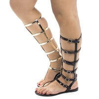 Joanie126 Black Pvc By Wild Diva, Jelly Knee High Gladiator Multi Buckle Thong Flat Sandals