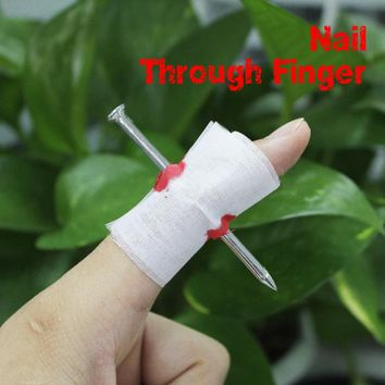 Fake Blood Manmade Nail Through Finger With Bandage April Fool Trick Prop Scary Toy FCI#