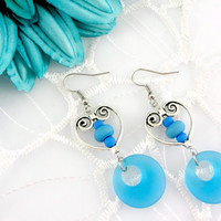 SRA Lampwork & Sea Glass Heart Earrings, Baby Blue, Dangle Earrings, geometric Earrings