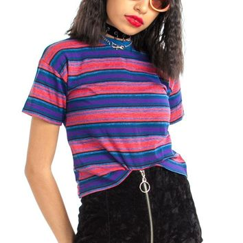 Vintage 80's Striped Boxy Baby Tee - XS/S