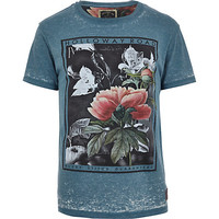 River Island MensBlue Holloway Road burnout floral t-shirt