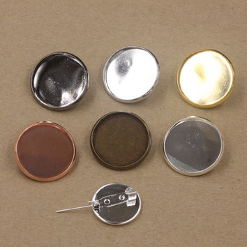 50pcs/lot 20mm,25mm Pad/Tray brooches Antique Bronze/Gold/Silver vintage cabochon pin base blank setting diy handmade jewelry
