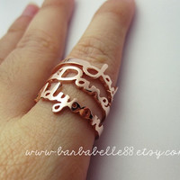 Personalized name ring - Any size - Yellow gold, White gold, Pink gold, Silver plated and Brass - Gift box included.