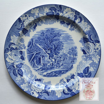 Wood & Sons English Scenery Blue and White Vintage English Transferware Plate Horse and Buggy Drawn Cart Church Chickens Farm