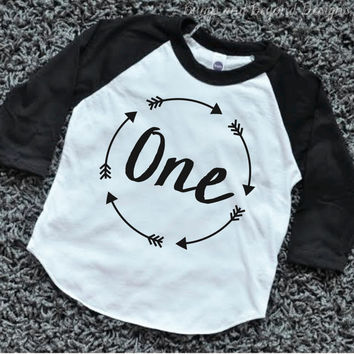 Boy First Birthday Shirt One Party 1st Arrow Hipster Clothes