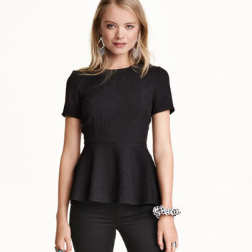 Textured Peplum Top - from H&M