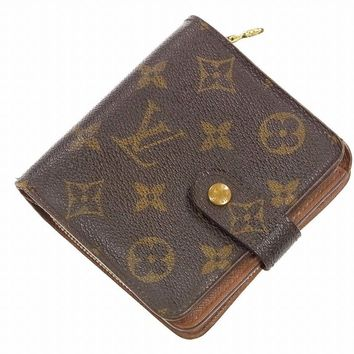 Authentic LOUIS VUITTON Compact Zip Monogram Bi-fold Wallet Brown #X8096