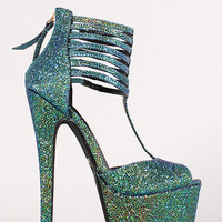 Anne Michelle Strappy Iridescent Textured Peep Toe Platform Heel