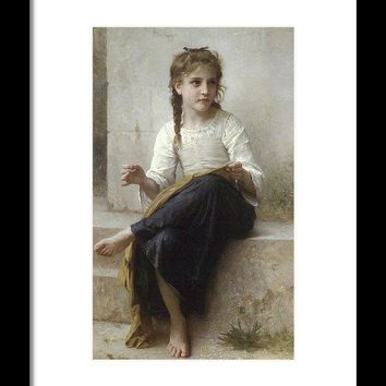 Sewing By Adolphe-William Bouguereau - Framed Print