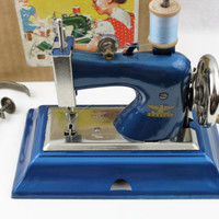 Vintage 1940s German Casige Toy Sewing Machine IOB, Beautiful Metallic Blue