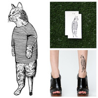 Cat in Pajamas - Temporary Tattoo (Set of 2)