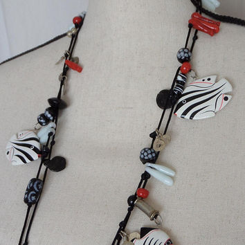 Tropical Fish Necklace Black White & Red with Glass Wood and Metal Beads, Fun Beach Resort Jewelry