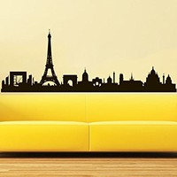 Paris Skyline Wall Decal Vinyl Sticker City Silhouette France Wall Decals Vinyl Stickers Home Decor Living Room Office Bedroom Wall Art C585