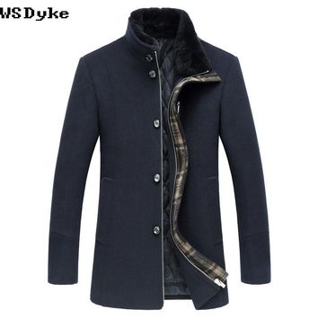 Slim Medium Long Thick Warm Stand Men Fur Collar Wool Coat