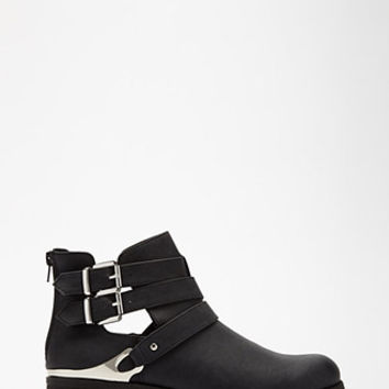 Buckled Cutout Faux Leather Booties