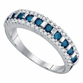 10kt White Gold Women's Round Blue Color Enhanced Channel-set Diamond Band Ring 1/2 Cttw - FREE Shipping (US/CAN)