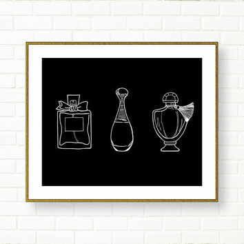 Perfume Art Print, Glam Printables, INSTANT DOWNLOAD, Fashion Illustration, Black White, Miss Dior, Bathroom Decor, Powder Room, Elegant
