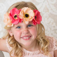 Coral Poppy Flower Crowns on Gold Braid