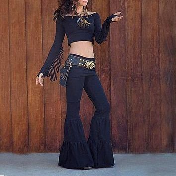 Gypsy bell bottom pants with boho flair!