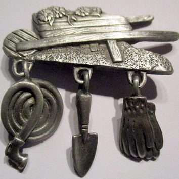 Vintage JJ pin  Gardener - Jonette Jewelry Garden Gift-  Artifacts 1986 - unique under 15-