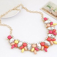 ZPS Women Flower Statement Necklace Jewelry