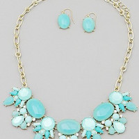 Resin Bead Statement Necklace Set