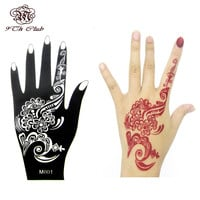 1pcs Henna Hand Tattoo Stencil,Flower Glitter Airbrush Mehndi Henna Tattoo Large Templates Stencils For Body Paint 20*10.5cm