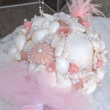 Pink Shell Bouquet, Jeweled Bouquet, Beach Wedding Keepsake
