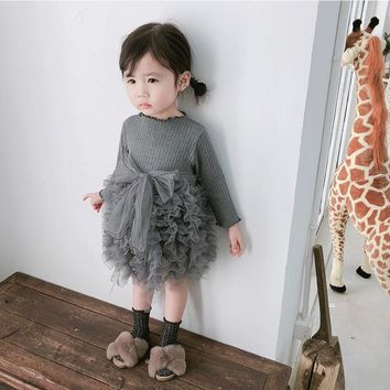 2018 Autumn Baby Bow Tie Dress New Long Sleeve Girl Cake dress  Baby Girl Clothes Girls Dresses For Party And Wedding