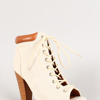 Qupid Linen Peep Toe Work Bootie